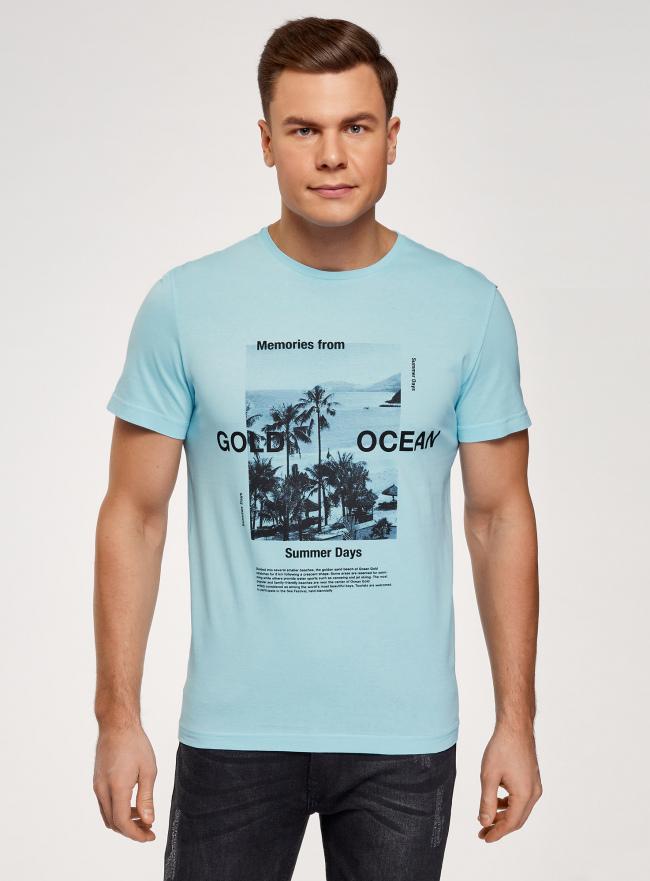 Футболка хлопковая с принтом oodji для мужчины (синий), 5L641001I-20/44135N/7029P