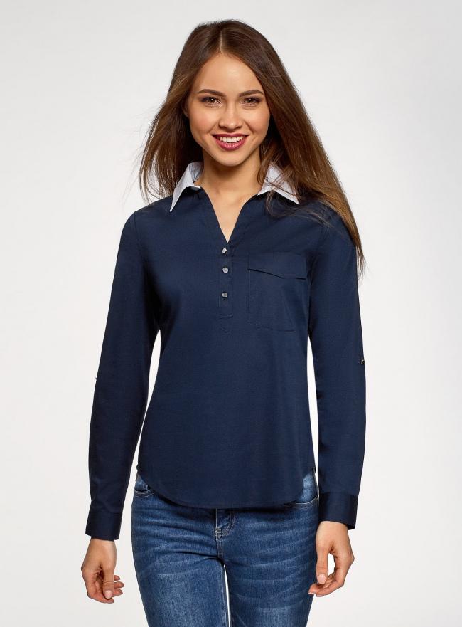Блузка хлопковая с нагрудным карманом oodji #SECTION_NAME# (синий), 13K03017/26357/7910B
