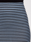Юбка в рубчик на резинке oodji #SECTION_NAME# (синий), 14101086/46502/7029S - вид 4