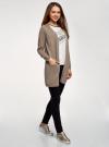 Кардиган удлиненный с карманами oodji для женщины (бежевый), 63212572/18239/3500M - вид 6