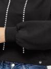Худи хлопковая со стразами на завязках oodji #SECTION_NAME# (черный), 15408009/46738N/2900N - вид 5