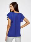 Блузка из вискозы с рукавами-крылышками oodji #SECTION_NAME# (синий), 11411106/45542/7500N - вид 3