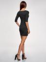 Платье трикотажное облегающего силуэта oodji #SECTION_NAME# (черный), 14001121-4B/46943/2912D - вид 3