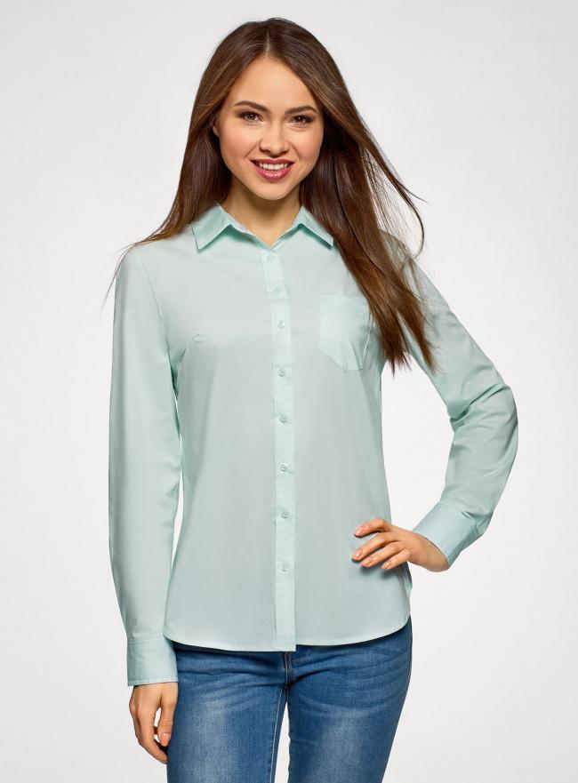 Рубашка базовая из хлопка oodji для женщины (зеленый), 13K03007B/26357/6500N