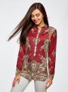Блузка из струящейся ткани с принтом oodji #SECTION_NAME# (красный), 21411144-3/35542/4939E - вид 2