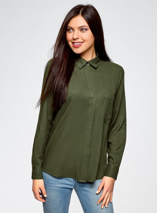 Блузка вискозная с нагрудным карманом oodji для женщины (зеленый), 13L11012-1/47741/6800N