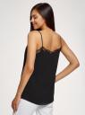 Топ в бельевом стиле с кружевной отделкой oodji для женщины (черный), 14911004-2B/17358/2900N