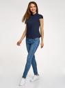 Рубашка с воротником-стойкой и коротким рукавом реглан oodji для женщины (синий), 13K03006B/26357/7900N