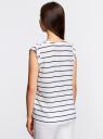 Блузка принтованная из вискозы с двумя карманами oodji #SECTION_NAME# (белый), 21412132-1/24681/1079S - вид 3