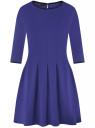 Платье трикотажное со складками на юбке oodji #SECTION_NAME# (синий), 14001148-1/33735/7500N