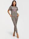 Пижама принтованная с легинсами oodji для женщины (бежевый), 56002198-9/46154/3329P