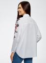 Рубашка хлопковая с вышивкой oodji #SECTION_NAME# (белый), 13L05001/13175N/1000N - вид 3