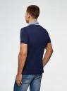 Поло из ткани пике с контрастной отделкой oodji для мужчины (синий), 5L412289M/46508N/7975B