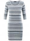 Платье жаккардовое с геометрическим узором oodji #SECTION_NAME# (синий), 14001064-5/46025/7079G