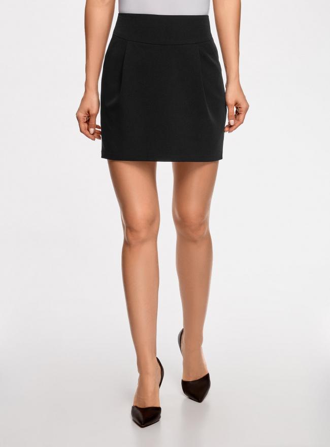 Юбка короткая с карманами oodji для женщины (черный), 11605056-2B/18600/2900N