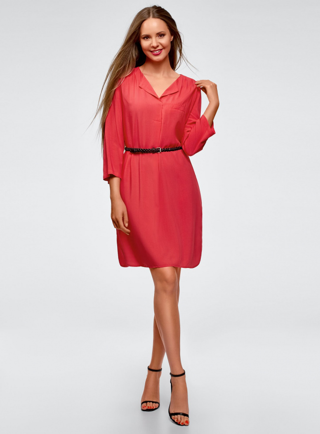 Платье вискозное с ремнем oodji #SECTION_NAME# (розовый), 11900180B/42540/4D01N