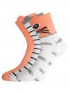 Комплект из трех пар хлопковых носков oodji для женщины (разноцветный), 57102802T3/47469/19 - вид 2