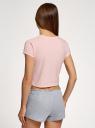 Пижама хлопковая с принтом oodji #SECTION_NAME# (розовый), 56002230/46154/4020P - вид 3