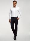 Рубашка базовая приталенная oodji для мужчины (белый), 3B140000M/34146N/1000N - вид 6
