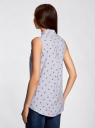 Топ вискозный с нагрудным карманом oodji для женщины (синий), 11411108B/26346/7079Q