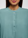 Блузка вискозная А-образного силуэта oodji #SECTION_NAME# (бирюзовый), 21411113B/42540/7302N - вид 4