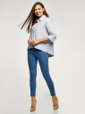 Рубашка свободного силуэта с асимметричным низом oodji для женщины (синий), 13K11002-1B/42785/7004N