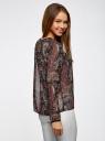 Блузка из струящейся ткани с контрастной отделкой oodji #SECTION_NAME# (черный), 11411059-2/38375/2966E - вид 3