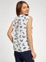 Топ базовый из струящейся ткани oodji для женщины (белый), 14911006B/43414/1229U
