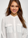 Блузка вискозная с нагрудными карманами oodji #SECTION_NAME# (белый), 11403225-7B/42540/1200N - вид 4