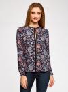 Блузка из струящейся ткани с контрастной отделкой oodji #SECTION_NAME# (разноцветный), 11411059B/43414/7945F - вид 2