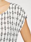 Блузка принтованная из вискозы oodji #SECTION_NAME# (белый), 11400345-1/24681/1229E - вид 5
