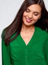 Блузка принтованная из вискозы oodji #SECTION_NAME# (зеленый), 11411049-1/24681/6B00N - вид 4