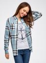 Рубашка вискозная в клетку oodji для женщины (синий), 11411114/45776/7530C