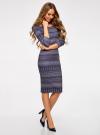 Платье облегающее с вырезом-лодочкой oodji #SECTION_NAME# (синий), 14017001-2B/37809/796CE - вид 6