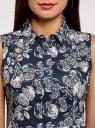 Платье хлопковое без рукавов oodji для женщины (синий), 11913058/13175N/7912O