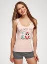 Пижама хлопковая с принтом oodji #SECTION_NAME# (розовый), 56002199-6/46154/4025Z - вид 2