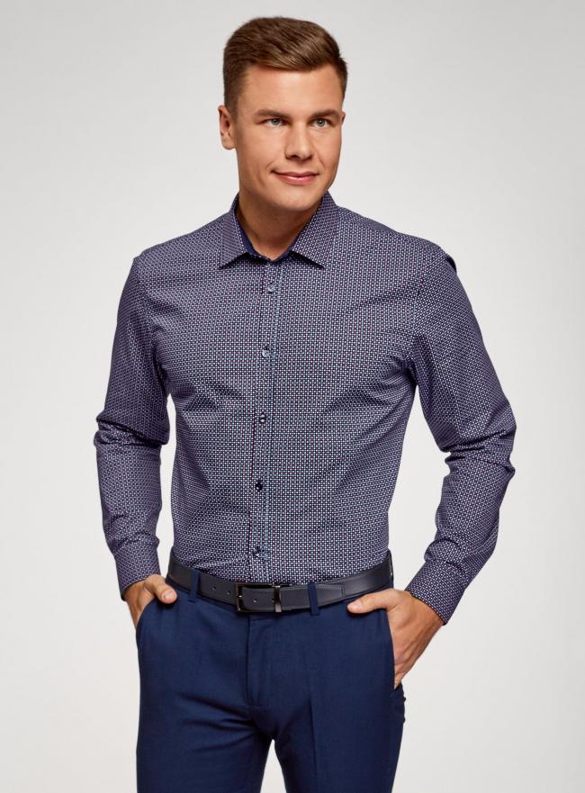 Рубашка принтованная приталенного силуэта oodji #SECTION_NAME# (синий), 3L110210M/19370N/7949G