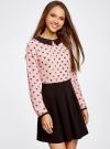 Блузка из струящейся ткани с контрастным воротником oodji #SECTION_NAME# (розовый), 11411117/36005/5429Q - вид 2