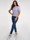 Джемпер с короткими рукавами и кружевной вставкой oodji #SECTION_NAME# (фиолетовый), 63814004/46406/806CF - вид 6