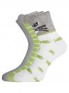 Комплект из трех пар хлопковых носков oodji для женщины (разноцветный), 57102802T3/47469/24 - вид 2