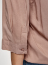 Блузка вискозная с рукавом-трансформером 3/4 oodji для женщины (коричневый), 11403189-3B/26346/3701N