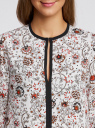 Блузка из струящейся ткани с контрастной отделкой oodji #SECTION_NAME# (белый), 11411059/43414/1245E - вид 4