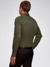 Рубашка базовая приталенная oodji для мужчины (зеленый), 3B140000M/34146N/6600N - вид 3