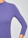 Водолазка хлопковая с рукавом 3/4 oodji #SECTION_NAME# (фиолетовый), 15E11007B/46147/7500N - вид 5
