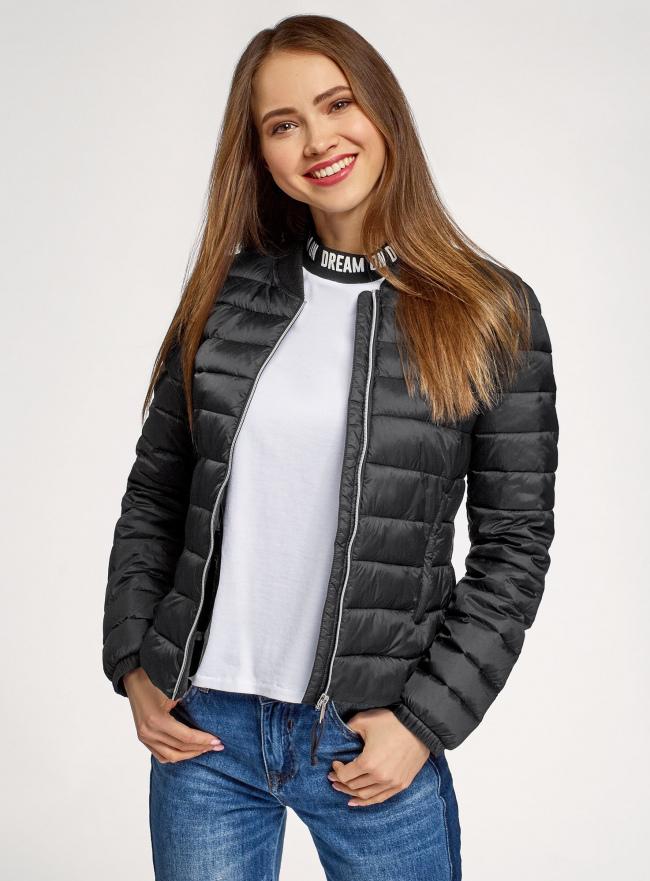 Куртка-бомбер на молнии oodji для женщины (черный), 10203061-1B/33445/2900N