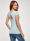 Комплект футболок с вырезом-капелькой на спине (3 штуки) oodji #SECTION_NAME# (синий), 14701026T3/46147/7000N - вид 3