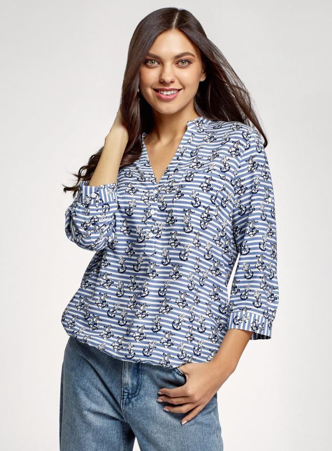 Блузка вискозная с рукавом-трансформером 3/4 oodji #SECTION_NAME# (синий), 11403189-1/26346/7412O
