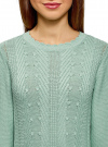 Джемпер фактурной вязки с фигурным вырезом oodji #SECTION_NAME# (зеленый), 63807325/31347/6501N - вид 4