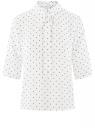 Блузка прямого силуэта с завязками на воротнике oodji для женщины (белый), 11411197/36215/1229D