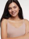 Топ трикотажный на тонких бретелях oodji для женщины (розовый), 14306007/19768/4A00N